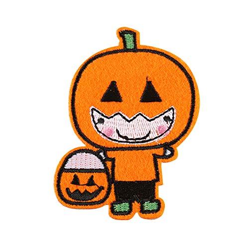 Fablcrew Kürbis Mann Bestickte Stoff Aufkleber Halloween Elemente Patch Aufkleber Schuhe und Hüte Bekleidungszubehör ()