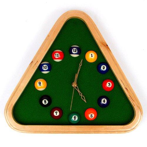 Trademark Global Markenzeichen 12.75-inch Pool Rack Quarz Uhr mit Rahmen aus massivem Holz
