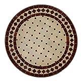 Casa Moro Mediterraner Gartentisch marokkanischer Mosaiktisch Ø 45 cm rund Bordeaux Terrakotta mit Gestell H 55 cm  Kunsthandwerk aus Marrakesch  Bistrotisch Balkontisch  MT2993