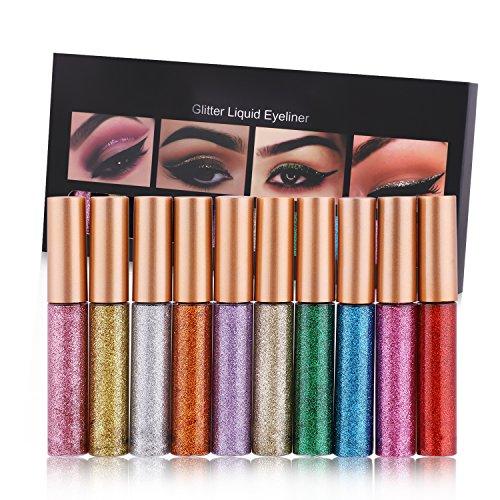 Juego de delineadores de ojos Weisy, 10 colores de purpurina, resistente al agua, impermeable, color plateado y dorado