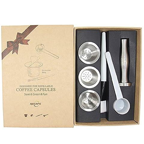 Recaps Wiederverwendbare Nespresso Kapseln Edelstahl Nachfüllbare Pods für Nespresso Maschinen (OriginalLine Compatible) (3 Pods + 120 Lids + 1 Tamper) (3 Pods + 120 Lids + 1 Tamper)