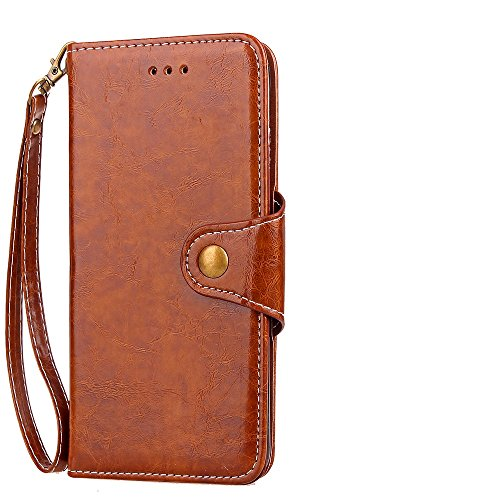Retro Slim Business Style Ledertasche Magnetische Knopfverschluss Luxus Brieftasche Stand Beutel Case Cover mit Lanyard für iPhone 7 Plus ( Color : Red ) Brown