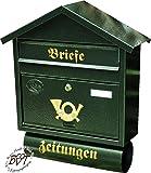 Großer Briefkasten, verzinkt mit Rostschutz Spitzdach S/gr grün dunkelgrün moosgrün Zeitungsfach Zeitungsrolle Postkasten NEU