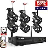 Kit Vidéo Surveillance Système de Caméra sans Fil,SMONET 8 CH Extensible 1080P NVR et 6 * 960P Caméras avec 1 to Disque Dur, Vision Nocturne, Surveiller Facilement à Distance Via APP Gratuite, Noir