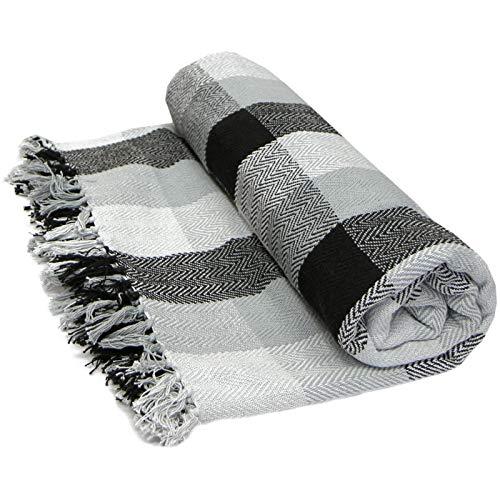 Just Contempo Weiches, 100%Baumwolle, Kariert, Überwurf, Decke/Überwurf, Sofa, Bett, Tropen-Design, 100% Baumwolle, Black (Grey Charcoal White, Double 228cm x 254cm (90