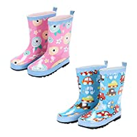 Zhuhaixmy Kids Cute Owl Non-Slip Rain Boots Children Boys Girls Rubber Ankle Boots Water Shoes Rainboots Snow Boots Winter Boots