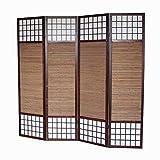 Homestyle4u 89, Paravent Raumteiler 4 teilig, Faltbar Blickdicht, Holz Bambus Reispapier, Braun