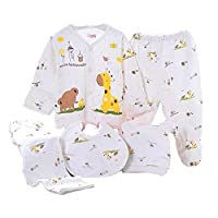 WANGSAURA Baby Infant 5pcs Cotton Clothing Set (Cap+Bib+Pajamas Suit+Pants) Newborn Caring Gift 0-3 Months