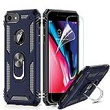 LeYi Custodia iPhone 7/8,iPhone 6 / 6S Cover, 360° Girevole Regolabile Ring Armor Bumper TPU Case Magnetica Supporto Silicone Custodie con HD Pellicola per Apple iPhone 6 / 6S / 7/8 Case Blu Scuro
