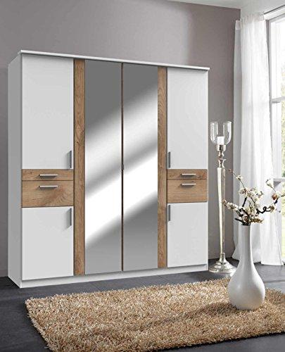 lifestyle4living Kleiderschrank 6-türig in Weiß/Eiche mit Schubladen und Spiegel | Drehtührenschrank mit vielen Fächern ca. 180 cm