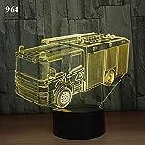 Tianyifengg 3D Nachtlicht -7 Farbe - Fernbedienung - Kran Feuerwehrauto Schulbus Design Acryl Auto...