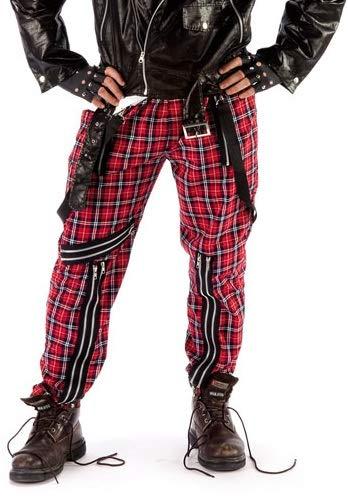 Fancy Me Herren Damen Kostüm, Karomuster, 1970er Jahre, Punk Hose, Rot (1970er Jahre Kostüm)