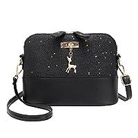silverone Shell Shoulder Handbag Sequins Bag Handbag Purse Crossbody Messenger Bag with Deer Pandent/Black
