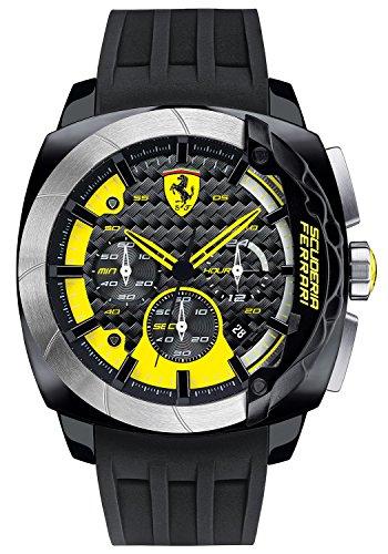 Reloj de pulsera Ferrari para hombre, AERODINAMICO, cronómetro, analógico, cuarzo, silicona, 0830206