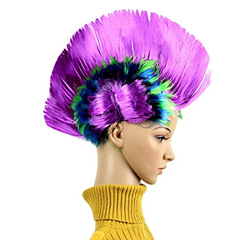 HARRRYSTORE Mode Damen Halloween Maskerade Punk Mohawk Mohican Frisur Bunte Wappen Form Haar Perücke (Perücke Kostüme Indische)