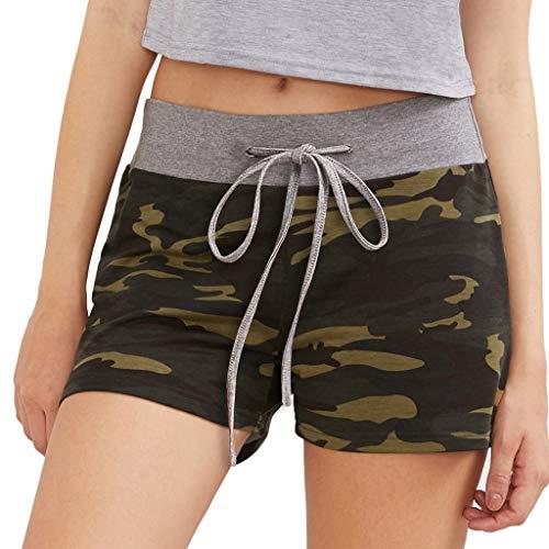 VRTUR Damen Sommer lässige Kurze Hose Bermuda-Shorts Frauen Sport Hose Hot Pants aus Baumwolle mit Militär Camouflage Army Shorts(Grün,XXL) -