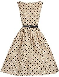 Damen (black & beige) und (schwarz und weiß) Polka dot Vintage-Swing-Kleid Größe L Retro-Cocktail der 50 (40 -42), 2XL (42 -44).
