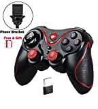 Produkt-Bild: MallTEK Wireless Controller PS3 PC Smartphone Gaming Gamepad 2.4G / Bluetooth 2 Modes Gamepad Kabelloses für Android Smartphone / PC / PS3 / Smart TV / TV Box Spielkonsolen Joystick für Smartphone Sony Samsung huiwei etc mit Support (Schwarz + Rot)