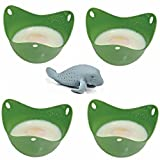 Egg Poacher Silicone 4 pack Green & Free Gift Manatee Tea Infuser. Easier & Healthier Nutritious Cooking, Prepare your Poached Eggs in Minutes. Use this Cute Infuser with Your Tea or Herbs for a Complete Breakfast Experience. Satisfaction Guaranteed.