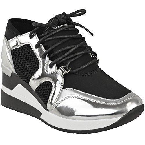 Fashion Thirsty Mujer Hi Top Zapatillas Cuña Gimnasio Fitness Moderno Deporte Camuflaje Talla UK - Plata Metálico/Negro, 39