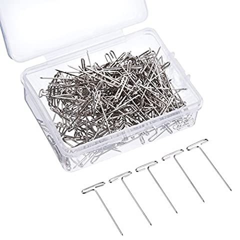 Outus T-pins Steel T-pins with Storage Box for Blocking Knitting, Modeling and Crafts, Silvery, 2.8 cm, 200 Pieces