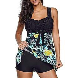 LABIUO Femme Elégant Maillots de Bain 2 Pièces Tankinis Imprimé Tops Mini Jupe et Shorty Push Up Sexy Bikini Rembourré Haute Grande Taille Swimwear Beachwear S-5XL(Noir,XXXXXL)