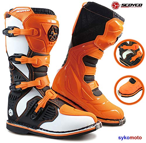 SCOYCO MBM001 Motocross Botas Hombre Off Road Protector Impermeable Enduro ATV Quad Carreras Kart Zapatos Naranja Exclusivo (EU 43)