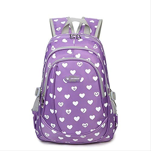 Große Kapazität Neue Herzen Druck Mädchen Schultasche Kind Rucksack Reißverschluss Rucksäcke Schultaschen Für Jugendliche Mädchen Schulranzen lila - Canvas Long Strap Handtasche
