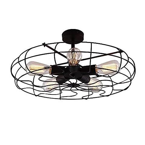 Style Vintage industriel semi Flush Mount Light Metal Plafond Luminaire suspendu avec éclairage 5 ampoules E27,ampoule utiliser 22,4 x 5,1 x 22,4 cm