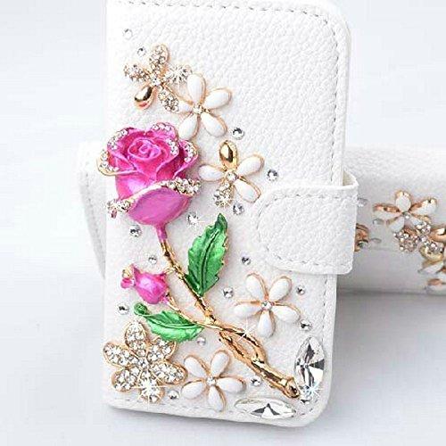 Spritech (TM) Weiß Samsung S6 Rand + Fall des Luxus-3D Art und Weise handgemachte Bling Kristallrhinestone PU-Schlag-Mappen-Leder-Kasten-Abdeckung für Samsung-Galaxie-S6 Edge-Plus- (1/2 Ferse 4 Weiß)