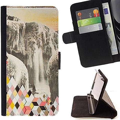 Momo Phone Case / Flip Funda de Cuero Case Cover - Resumen Polígono Glaciar - Huawei Ascend P8 (Not for P8 Lite)