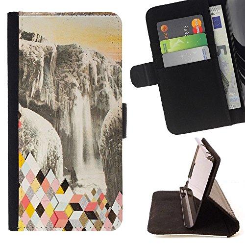 Momo Phone Case / Flip Funda de Cuero Case Cover - Resumen Polígono Glaciar - Samsung Galaxy S6 Edge Plus / S6 Edge+ G928