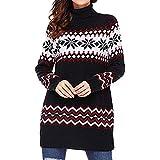 Xmiral Weihnachtsstrickjacke Damen Rollkragen Pullover Schneeflocke Lange Oberteile Frohe Weihnachten Minikleid (S,Schwarz)