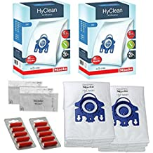 Miele-Bolsas para aspiradora polvo GN-Hyclean Original S3800 S5281 & perro gato filtros (1 caja, 2 cajas desodorantes) 2 Boîtes : 8 sacs, 4 filtres + 10 déodorants