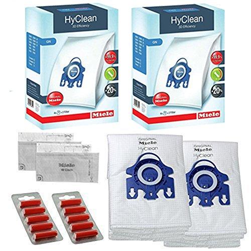 Sacchetti Aspirapolvere Miele GN - Soluzione Sensore Allervac HEPA Originale Autentico Hyclean + Filtri (Una Scatola, 2 Scatole + Deodoranti) - 2 Boxes: 8 Bags, 4 Filters + 10 Fresheners - Box 10 Sacchetti Filtro