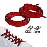 JANIRO Elastische Schnürsenkel flach mit Schnellverschluss |Flexible schleifenlose Schuhbänder ohne Binden | Kinder & Erwachsene (rot)