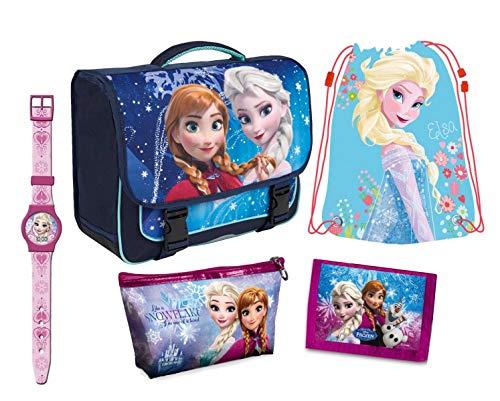 Set frozen, zaino scuola, portafoglio con portamonete, sacca-zaino piscina, orologio (batteria inclusa) astuccio. disney originali.