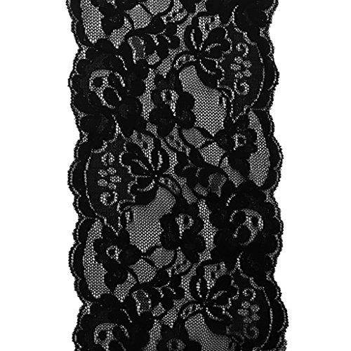 Baoblaze 5 Yards Spitzenbordüre Vintage Spitzenband Weiß Breite 14.5-15cm Zierband Stretch Spitze Blume Borte Dekoband Schleifenband Spitze Patches - schwarz, wie beschrieben