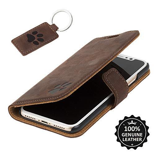 SURAZO Pfote - Premium Vintage Ledertasche Schutzhülle Wallet Case aus Echtesleder Nubukleder Fixierung mit Kunststoffen Farbe NussBraun für Huawei P10 LITE