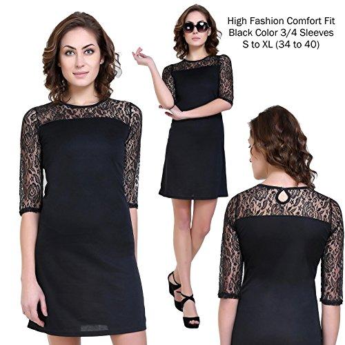 Klick2Style Lace Inset at Neckline Shift Dress Black