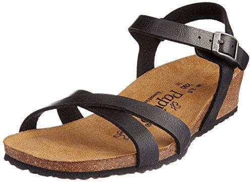 Papillio - Alyssa Birko-Flor, Wedge sandali alla caviglia donna, color Nero (Graceful Licorice), talla 37