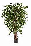 Deko-Ficus DAKU mit 985 grünen Blättern und Naturstämmen, 90 cm - Kunst Pflanze / Ficus künstlich - artplants