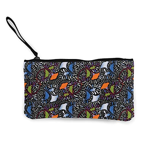 African Tapestry (African Flower Tapestry Multifunctional Portable Canvas Coin Purse Phone Pouch Cosmetic Bag,Zippered Wristlets Bag)