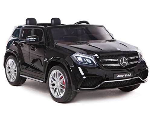 ES-TOYS Kinderfahrzeug - Elektro Auto Mercedes GLS63 AMG - lizenziert - 2X 12V7AH Akku,4 Motoren- 2,4Ghz Fernsteuerung, MP3+Ledersitz (Schwarz)