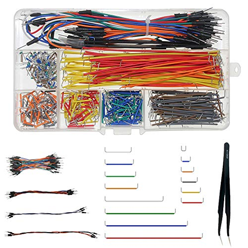WayinTop Breadboard Jumper Wires Assorted Kit, U Shape Jumper Wires 14 Lunghezza Assortita + Solderless Flexible Breadboard Jumper Cables M/M + Pinzetta per Arduino Shield