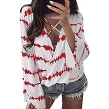 Fossen Mujer Blusa Camisa - Manga Larga - Rayas - Cruz de Banda - Gasa - Elegante y Moda