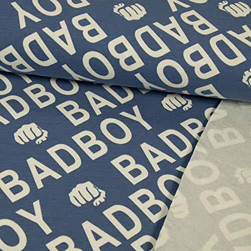 French Terry Stoff Schriftzug Bad Boy Jeansblau Sommersweat Stoff für Jungs - Preis Gilt für 0,5 Meter Weiß Terry Hoodie