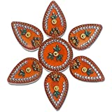 SBD Handmade Elegantly Designed Orange Rangoli - With Round Shaped Base And Petal Shape Design Decorated With Multicolored Stones - 7 Pieces