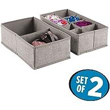mDesign Caja para armario o cajón - Ideal como caja almacenaje para juguetes o como caja para guardar ropa – Son muy versátiles - Con 4 compartimentos (set de 2)