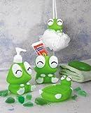 Frosch Stil Badezimmer Zubehör, Seifenschale, Zahnbürstenhalter, Bad Schwamm, Lotion Seifenspender, Bad Set für Kinder